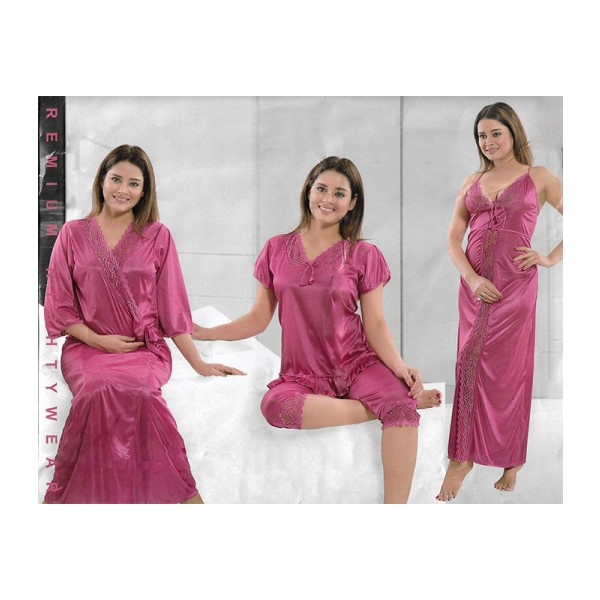 Premium Pink 4 Part Satin Nighty