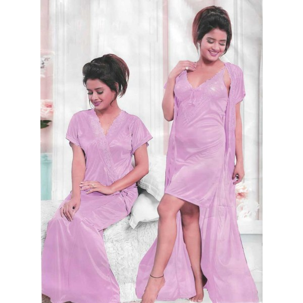 Silky Soft Pink 3 Part Nighty