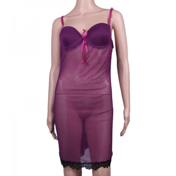Nighty Deep Purple lace Net Night Dress