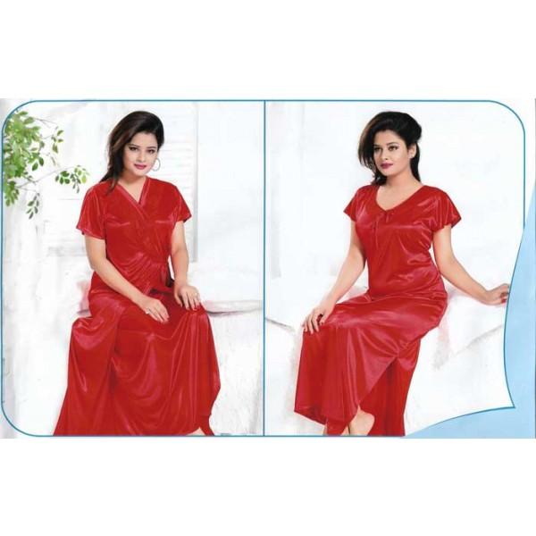 Night Dress Premium Red 2 Parts Nightdress