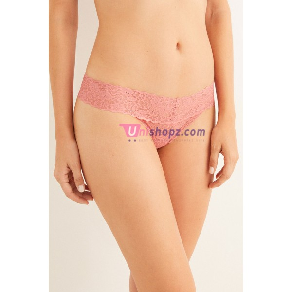 Coral Lace Thongs