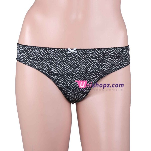 Black Printed Cotton Thongs