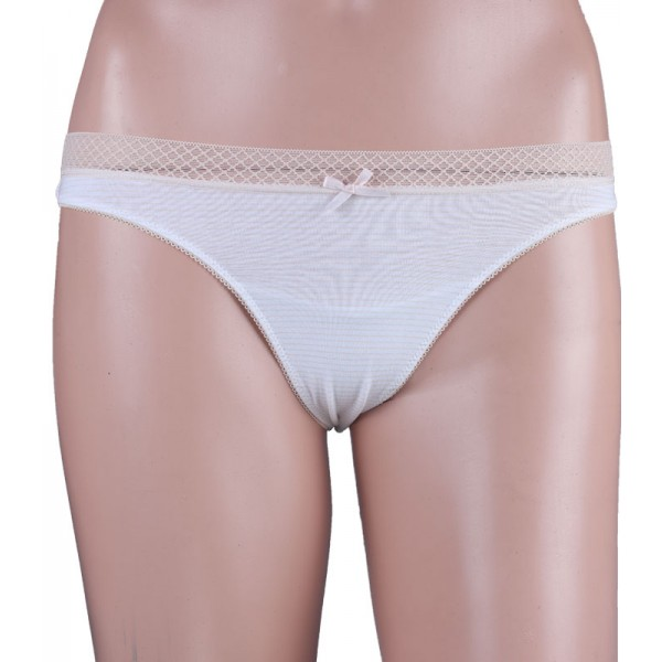 Lace Strip Light Peach Thong