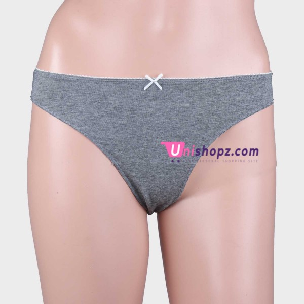 Solid Gray Cotton Thongs