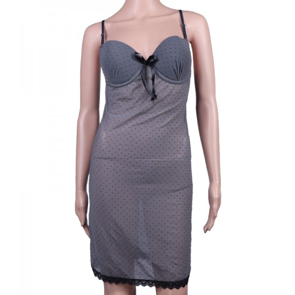 Nighty Light Gray lace Net Night Dress