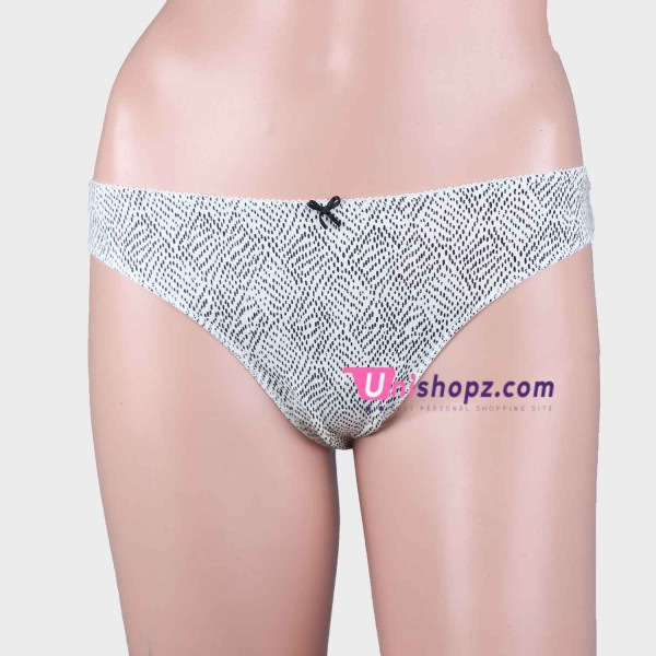 White Printed Cotton Thongs