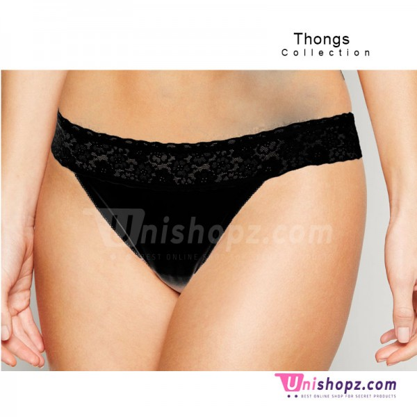 Lace Waist Black Thongs